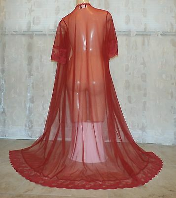 Vintage Extra Lacy Sheer Nylon Peignoir/robe--Bust To 38""