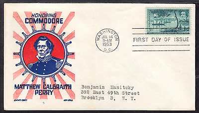 1953 WASHINGTON, DC., #1021 5c on COMMODORE PERRY FIRST DAY CACHET