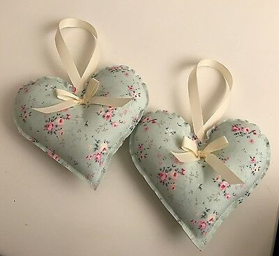 Handmade Fabric Hanging Heart - Set Of Two - Floral -Vintage - Shabby Chic