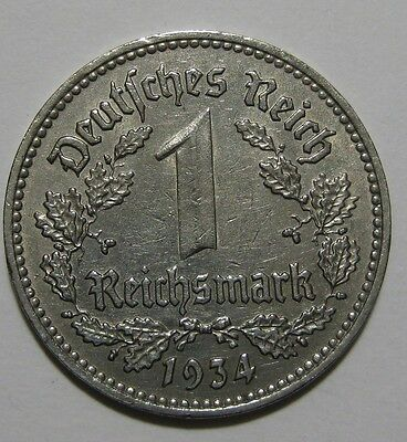 1934 - Germany - 1 Mark Coin - Lot of Two Coins