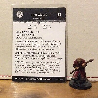 D&D Miniatures - Archfiends - Red Wizard #37 - Rare - With Card