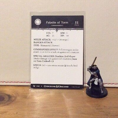 D&D Miniatures - Archfiends - Paladin Of Torm #07 - Rare - With Card