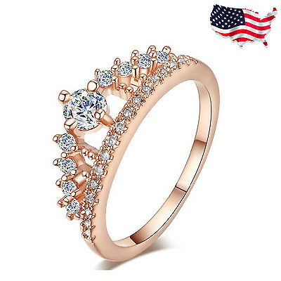 US - Fashion Women Lady Princess Queen Crown Silver Plated Ring