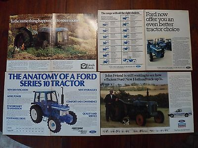 5x Ford Tractor Adverts Free UK Post Not Brochure/Leaflet 1979-88