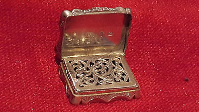 Antique Victorian Solid Birmingham Silver Vinaigrette  By Alfred Taylor