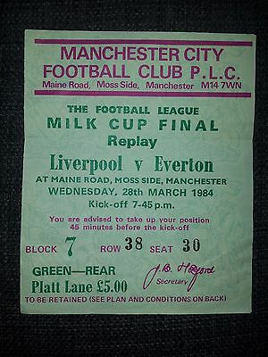 Liverpool v Everton 1984 Milk Cup Final Replay Ticket