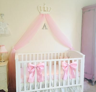 Nursery Baby Girls Large Cot Bedding Bows Princess Canopy Decor White Pink Set