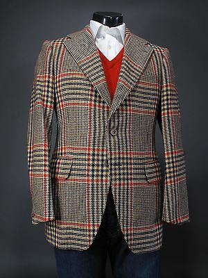 Rare Vtg HOBSON Copenhagen Bold Plaid Sport Coat 39 40R Hand Made in Denmark