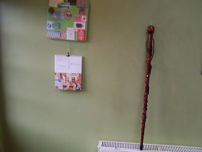 Wooden Walking Stick With Mother-Of-Pearl Inserts