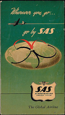 Sas Airlines Scandinavian Route Map 1957