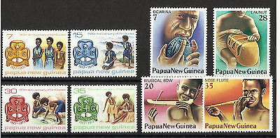 Papua New Guinea - 2 sets - MNH - Guiding & Musical Instruments - 1977/79