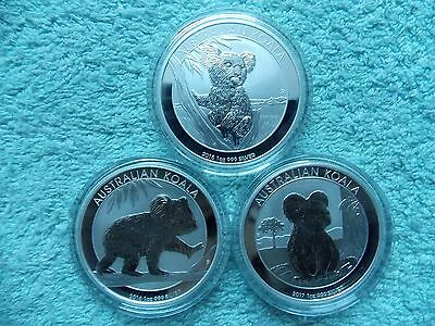 2015-2016-2017 AUSTRALIAN SILVER KOALA BU (Set of Three 1 oz Coins)
