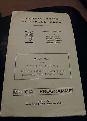 yeovil town v bournemouth 1967 football programme good condition