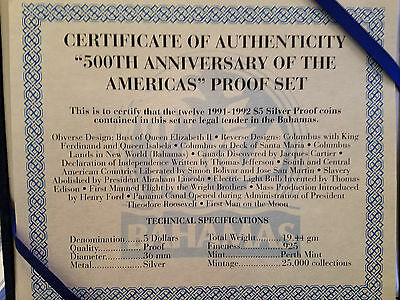 "1991-1992 Bahamas ""500TH Anniversary of the Americas"" 12-Piece Proof Set w/ COA"