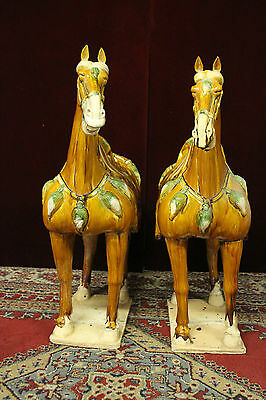 """Pair Tang Style Horses  Staues Tri Colored  30"""" Tall"""