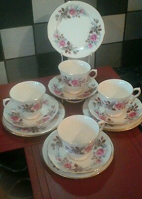 Queen Anne  Bone China Made In England  Rose Patern  Cups ,saucers  Tea Plate,s
