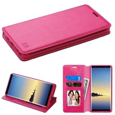 Samsung Galaxy On7 J7 Prime Leather Flip Card Wallet Case Cover Pouch Stand PINK