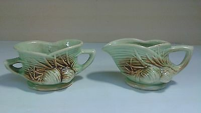 1940s Vintage McCoy Art Pottery 'Pine Cone' Creamer and Open Sugar Bowl