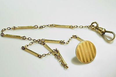 Beautiful Antique Gold filled Pocket Watch light chain/ fob 9.5 inch