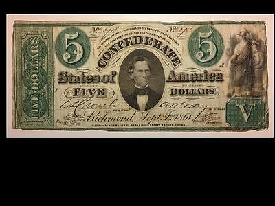 1861 T33 $5 Dollar Bill Confederate States Currency Civil War Note Money