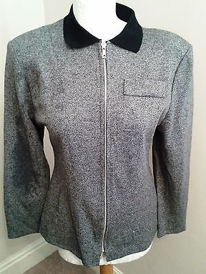 Vintage Mary Quant Grey Black Zipped Top Size 12