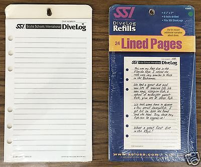 Dive Log Refill Pages SSI 24-LINED PAGES