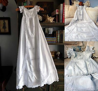 1840s EXCEPTIONAL FRENCH CHRISTENING ROBE W FINEST LACE & BRODERIE ALL HANDMADE
