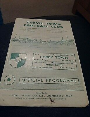 yeovil town v corby town 1967 football programme good condition