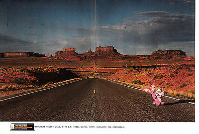 1992 Energizer Bunny-Monument Valley Utah Batteries-Original 2 Page Magazine Ad