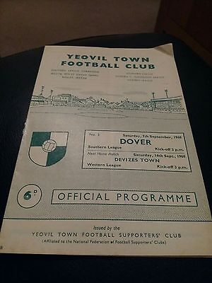 yeovil town v dover 1968 football programme good condition