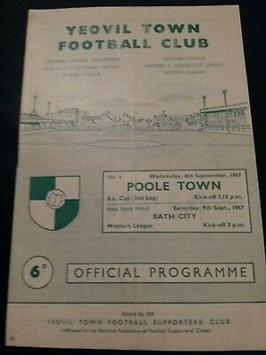 yeovil town v poole town 1967 s l cup football programme