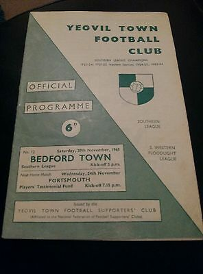 yeovil town v bedford town 1965 football programme good condition