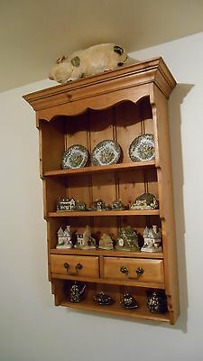 Old Pine Wall Cabinet Shelving Unit With Two Drawers