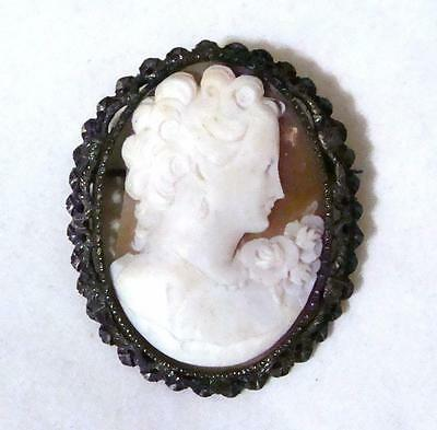 Victorian Vintage Angel Skin Coral Carved Cameo Flowers Brooch 800 Silver