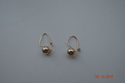 Solid 9ct Yellow Solid Gold Euro Ball Ladies Earrings