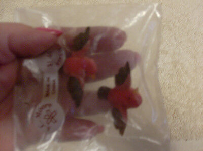 Miniature Birds*Set of 2*ROBINS*Flocked*NEW in PKG