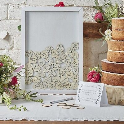 Ginger Ray Boho Wooden Hearts Heart Drop Top Frame Wedding Guest Book Bn