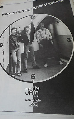 """The Jam Vintage 1978 """"down In The Tube Station """" New Single Advert A3"""