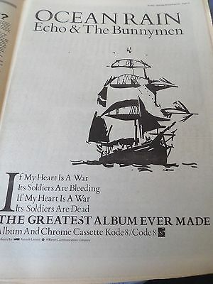"""Echo & The Bunnymen """"ocean Rain""""  Advert  From 1984 Full Page Good Condition"""