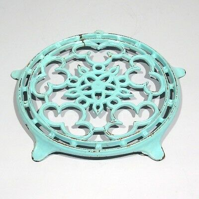 Vintage French Enamel Cast Iron Trivet, Aquamarine, Rose Window