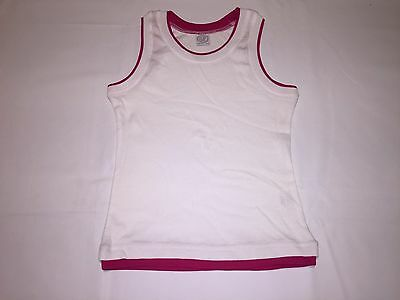 CLEARANCE New Girls Skinni Minni Vest tops. White/Fuscia x 86. L28.