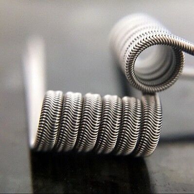 2 Stainless Steel 27/34g TC Alien Coils (6 Wraps) + free coils (Clapton, Twisted