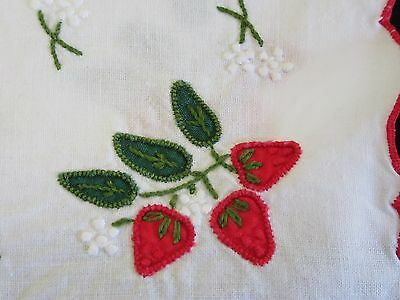 "Strawberry Set of ""14""  Vintage Embroidered/Applique Napkins/Doily/Doilies"