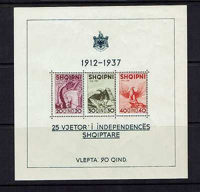 Albania 1937 25th Anniversary of independence, miniature sheet, MNH