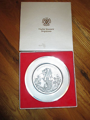 """Garden City Pewter Singapore 7"""" Decorative Plate With Embossed Design W Box"""