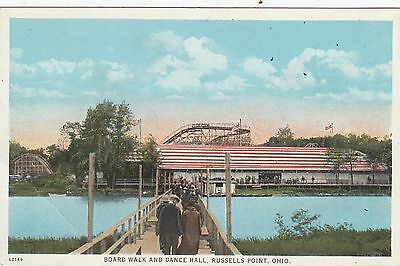 Early BOARD WALK & DANCE HALL-ROLLER COASTER in background RUSSELLS POINT  OH