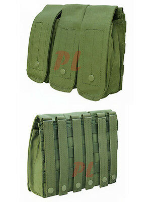 MOLLE 7.62mm 5.56mm TRIPLE Mag Pouch Magazine Close Flap Pouch Pals-OD GREEN