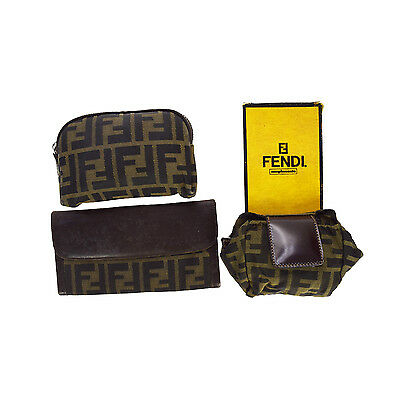 Authentic FENDI Logos 3 Pile Wallet Pouch Nylon Leather Brown Khaki Italy 06M481