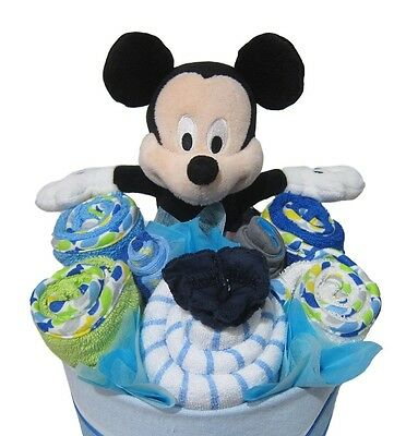 MICKEY MOUSE NAPPY CAKE Boy Baby Shower Quality Hamper Gift (HAM188) NEW