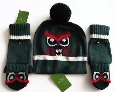 Kate Spade Womens Lily Pad WHO ME? Owl Beanie Hat Cap and Pop Top Gloves O/S NWT